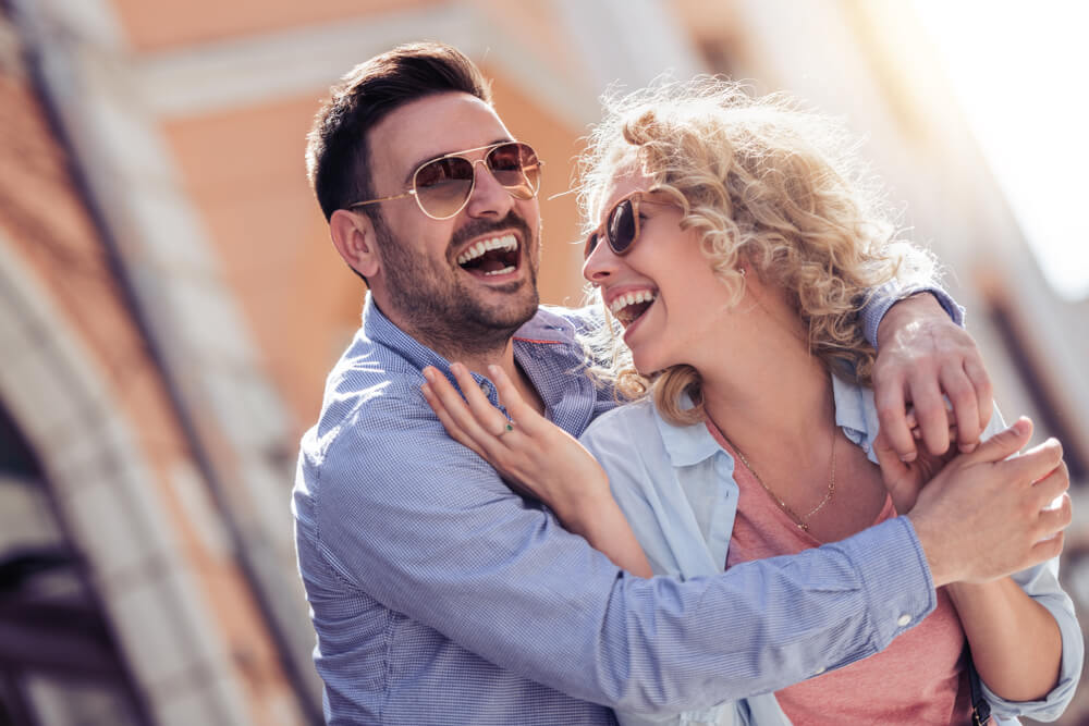 Smiling couple in love outdoors